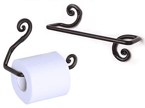 Rtzen Décor Decorative Swirl Towel Bar Hanger Holder & Wrought Iron Swirl Toilet Paper Roll Holder | Wall Mount Handmade