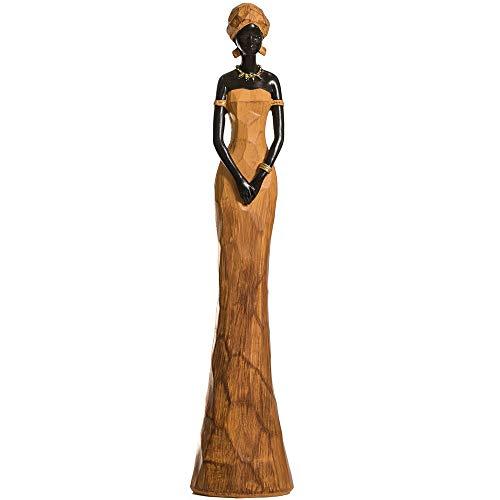 CASA FEBUS - Golden African Woman Sculpture, Maasai Lady Figurine, Statue Decor Collectible Art Piece 4