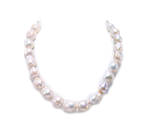 (JYX Pearl AA Quality Baroque White Freshwater Cultured Edison Pearl Necklace 19.5