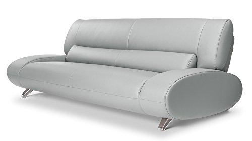 Zuri Furniture Modern Aspen Light Grey Microfiber Leather Sofa