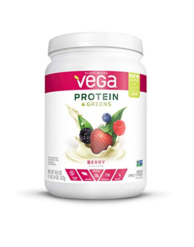 Vega Protein & Greens Berry (18 Servings, 1.15 lb) - Plant Based Protein Powder, Keto-Friendly, Gluten Free,  Non Dairy, Vegan, Non Soy, Non GMO - (Packaging may vary)