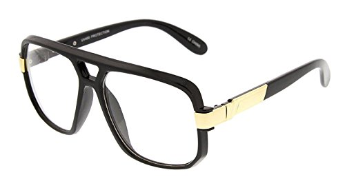 80s Mens Fashion (Gazelle Swag Square Oversized Sunglasses w/ Clear Lenses (Black & Gold, Clear))