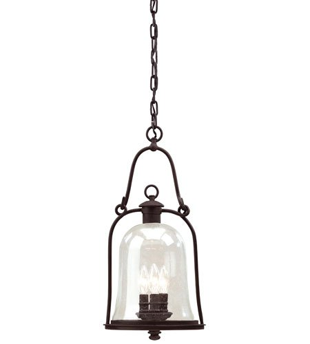 3 Outdoor Pendant (Troy Lighting Owings Mill 3-Light Outdoor Pendant - Natural Bronze Finish with Clear Seeded Glass)