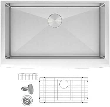ZUHNE Prato 30 Inch Single Bowl Farm House 16G Stainless Steel Kitchen Sink, Scratch Protector Grid, Caddy and Strainer – Curved Tall Apron