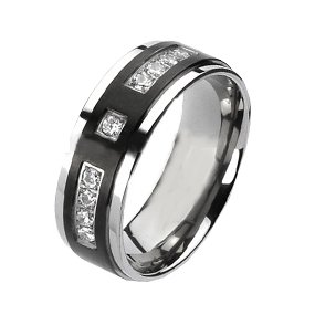 Cubic Zirconium Stone (Titanium Wedding Band with Black IP Inlay and Cubic Zirconium Stones (10))
