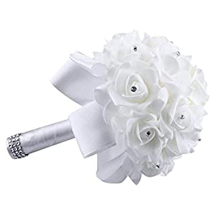 Eternal Blossom Wedding Bouquet, Crystal Pearl Silk Rose Bride Bridesmaid Wedding Holding Roses, 2520cm Artificial Fake Flowers for Wedding Parties and Churches (White) 56