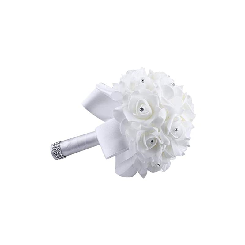silk flower arrangements eternal blossom wedding bouquet, crystal pearl silk rose bride bridesmaid wedding holding roses, 2520cm artificial fake flowers for wedding parties and churches (white)