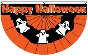 LuxMart Happy Halloween Ghost Bunting Flag 5X3 FT Party Decoration Haunted House Wall
