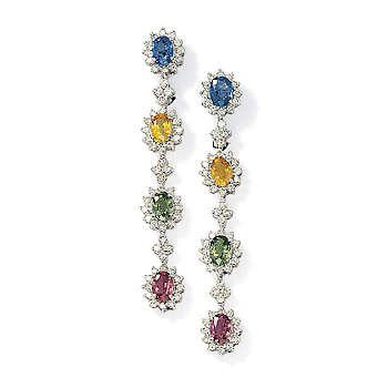 18kt White Gold Clip/Post Multi Sapphire And Diamond Earrings