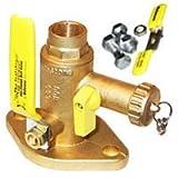 Webstone 50413 Isolation Pump Flange with Drain, 3/4'' Sweat, Plastic,  1'' x 1'' x 1''