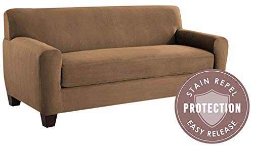 Tailor Fit Microsuede Sofa Furniture Slipcover with Detachable Cushion, Stain Repellant & Stretch Fit Material (Camel) ()
