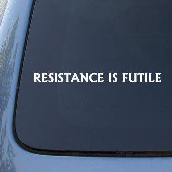 - CMI206 RESISTANCE IS FUTILE Borg Star Trek Decal Sticker   Vinyl Color: White