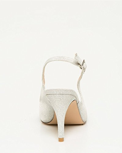 LE CHÂTEAU Womens Metallic Pointy Toe Slingback Pump Silver J4fjw9