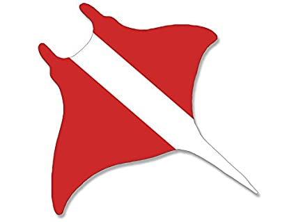 Manta Ray Shaped Scuba Flag Sticker (stingray mantaray dive decal)