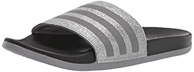 adidas Adilette Comfort Sandal, Grey Metallic/Black, 1 Medium US Little Kid