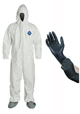 DuPont TY122S Disposable Elastic Wrist, Bootie & Hood White Tyvek Coverall Suit, Size: X-Large, with IPT Protective Gloves (InPrimeTime Exclusive)