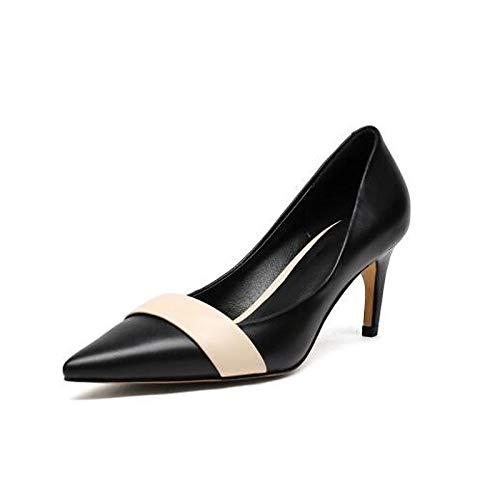 White Heel Comfort de Nappa Negro Leather Almendra Blanco Mujer ZHZNVX Spring Heel Stiletto Zapatos gFwO4fqxKC