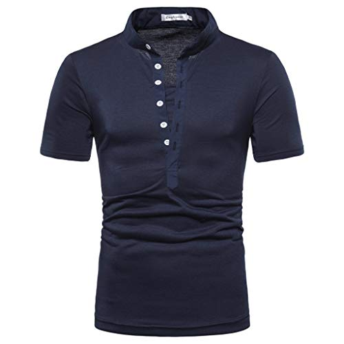 (Men's Shirt Pure Color Button Striped Splice Casual Sport Short Sleeve Tops Navy )