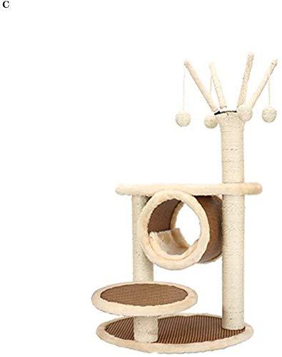 FTFDTMY Große Katzenvilla, Rattan-Katzennest Kratzbaum Einteilige Tierhandlung Toy Jump Platform Cat Scratch Board Yan…