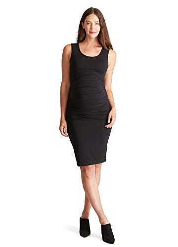 Isabella Oliver Maternity Dress - Ingrid & Isabel Women's Maternity Pleated Tank Dress, Black, Medium