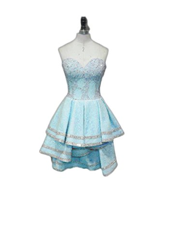 Sweetheart Mini Short Lace Beaded Dresses Silvery Chupeng Blue Women's Prom Cocktail 5w6SpA