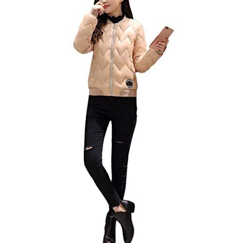 Sólido Otoño Parkas Plumas Manga Mujer Moda Espesar Cómodo Larga Acolchada Outerwear Termica Abrigos Slim Retro Color Elegantes Cremallera Invierno Chaqueta Khaki Fit 7SwqwEC
