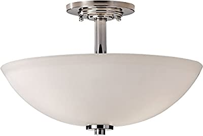 "Feiss SF308PN Malibu Semi Flush Ceiling Lighting, Chrome, 3-Light (15""Dia x 10""H) 300watts"