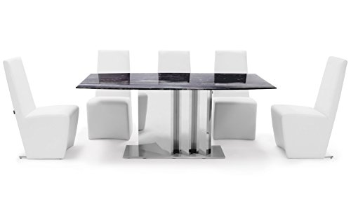 Zuri Furniture Nero Modern Dining Table with Marble Top and Mirrored Base - Black