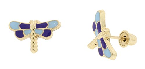 14k Yellow Gold Enamel Blue Dragonfly Stud Earrings 7 MM x 11 MM - Dragonfly Yellow Earrings