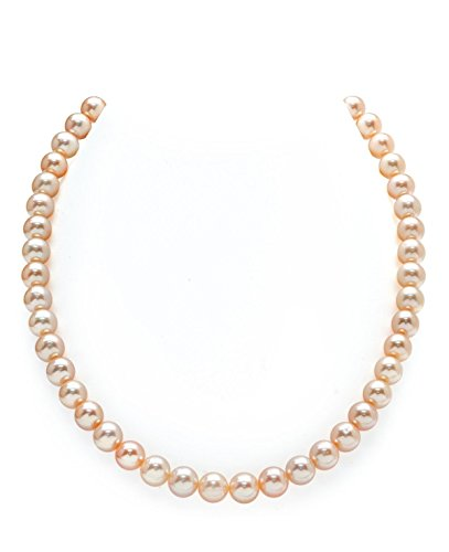 THE PEARL SOURCE 7-8mm AAA Quality Round Peach Freshwater Cultured Pearl Necklace for Women in 18