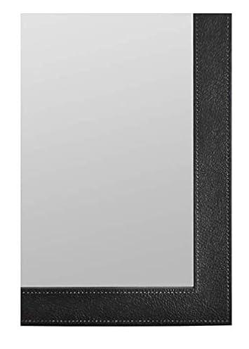 Raphael Rozen Hanging Framed Wood Wall Mounted Modern Elegant Mirror Rectangle, Black Pu Finish 26×30