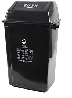 滑らかな表面 プラスチックリサイクルビン、ガーデン住宅地の学校のごみコンテナ長方形大容量ビンを拒否 リサイクル可能なデザイン (Color : Black, Size : 31*75*42CM)