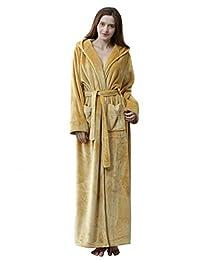 Cahayi Plush Thick Bathrobe Women Men Unisex Hooded Robe Sleepwear Housecoat