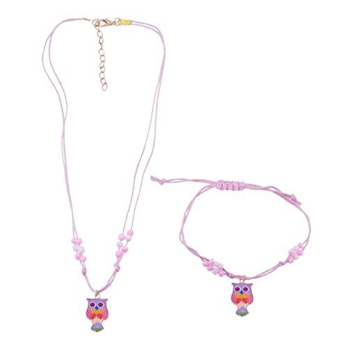 Parure Enfant Collier Bracelet Cordon Coton Rose Pendentif Hibou Chouette