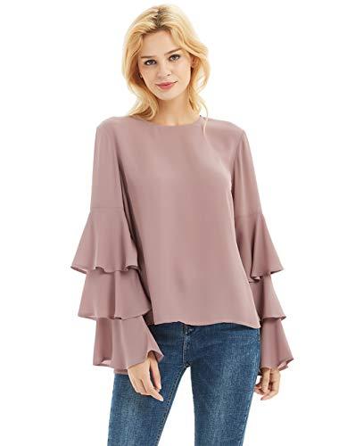 Basic Model Women's Bell Sleeve Tops Round Neck Shirts Ruffled Sleeves Tee Long Sleeve Blouses (Sleeve Ruffled Top)