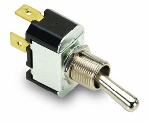 (NTE Electronics 54-659 Bat Handle Toggle Switch, Neoprene Seal, SPDT Circuit, (ON)-Off-(ON) Action, Brass/Nickel Plate Actuator, 0.25
