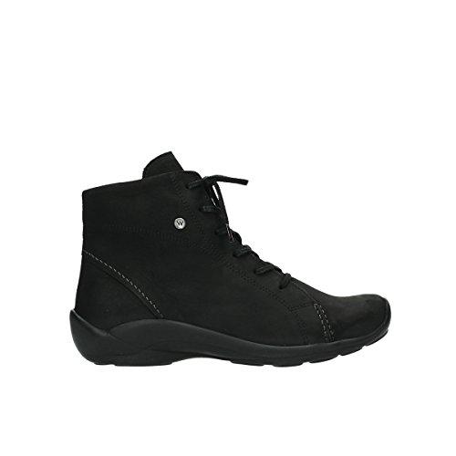 Wolky Damen Sandaletten NV 3204300 Schwarz 278854 50000 Schwarz Geöltes Leder