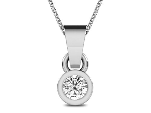 Or Blanc 14 ct Pendentifs Diamant solitaire, 0.2 Ct Diamant, GH-SI, 0.57 grammes.