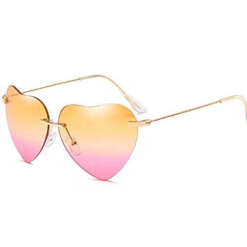 Aoligei Retro Love Ocean tranche miroir Sun Street beat pêches lunettes de soleil en forme de coeur 1HSP6RR