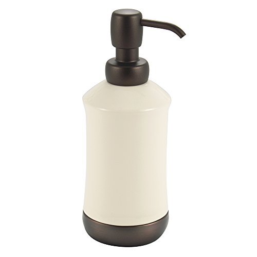 InterDesign Ashley Liquid Soap & Lotion Dispenser Pump for Kitchen or Bathroom Countertops, Ivory/Bronze