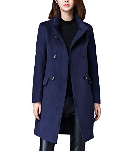 De Col vent Laine 2018 Lâche Cardigan Bleu Long Saison Coupe Confortable Slim Blansdi Et Coupe D'automne Femme Nouvelle Costume Revers Épaissir Manteau D'hiver CqCAPS