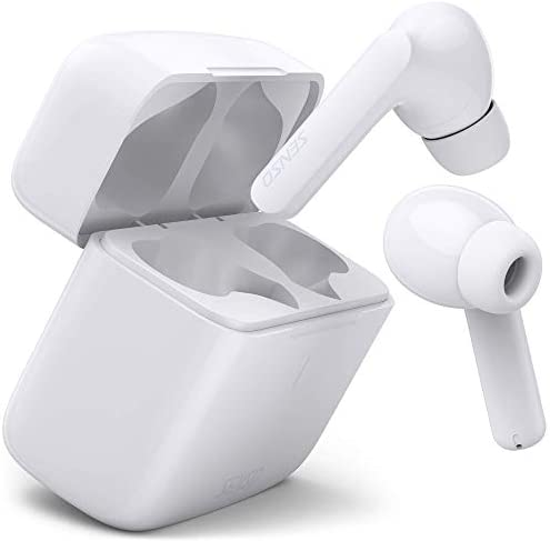 SENSO PODS Plus Wireless Earbuds Sports Bluetooth Earphones Ear Buds Head Phones w/Touch Control & USB-C Charging Headphones with Mic and Volume Control, White