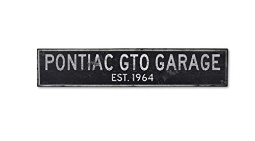Cheap Wooden 1964 64 Pontiac GTO Garage Established Date – Rustic Sign – 11.25 x 60 Inches