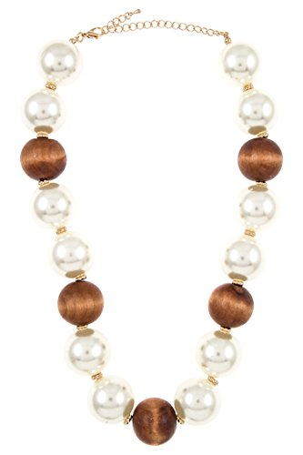 Karmas Canvas Chunky Faux Pearl and Wood Bead Necklace Strand - Faux Pearl Illusion Necklace Earrings