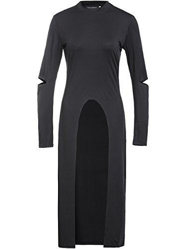 ZZhong Women's Off Shoulder Short Sleeve Shirt Front Split V Neck Long Dress (XL, Black Long Sleeve) - Front Long Dress