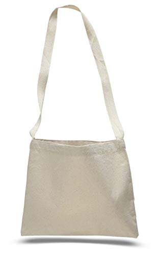(Cross Body Canvas Totes Small Messenger Tote Bags Long Shoulder Straps (Set of 1, Natural))