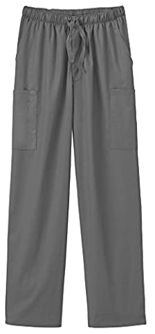 F3 Fundamentals By White Swan Unisex Elastic Waist Cargo Scrub Pant Small Tall Pewter