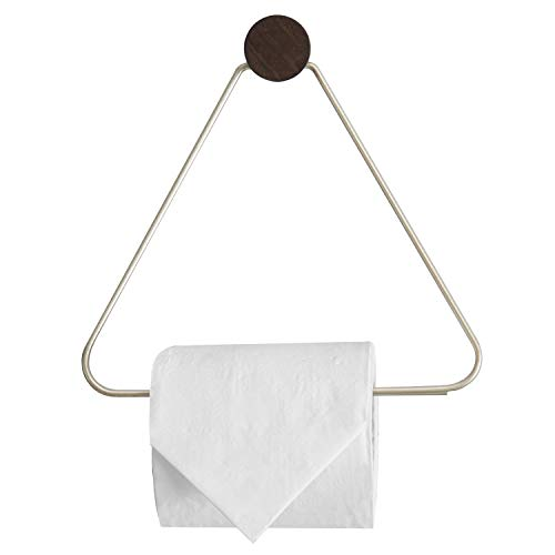 MyGift Wall-Mounted Brass-Tone Metal Triangular Toilet Paper Holder