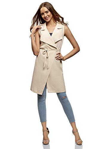 (oodji Collection Women's Long Belted Vest, Off-White, US 6 / EU 40 / M )