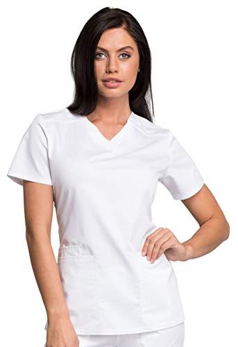 Cherokee Workwear Revolution Tech Conjunto De Ropa De Trabajo Para Mujer Ww770ab Con Cuello En V Y Pantalones Elasticos Ww235ab Blanco Xxxx Lxxxl